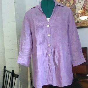 Foxcroft Purple Linen Blouse